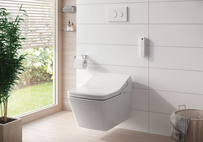 The Washlet is a toilet with integrated bidet functionality, including warm water spray, deodoriser and heated seat.