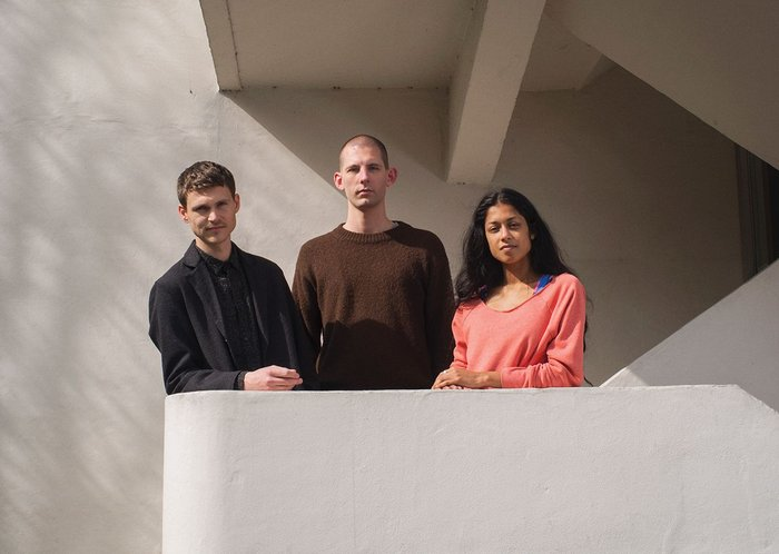 From left to right, Finn Williams, Jack Self and Shumi Bose contemplate Venice from the Isokon building.