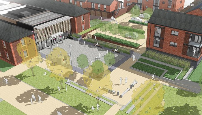 Architecture PLB's Barracks Square proposal for the Whitehill and Bordon Regeneration project in Hampshire: 100 homes built to Code 5 and Zero Carbon Homes standards, adopting a 'fabric first' approach.
