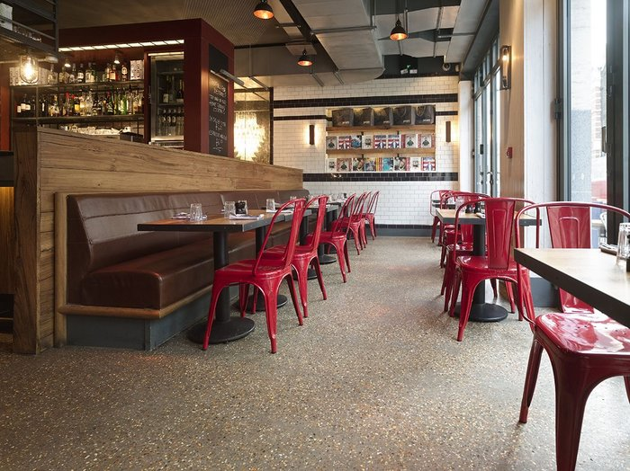 Diamond polished concrete in Jamie's Italian in Covent Garden, London.