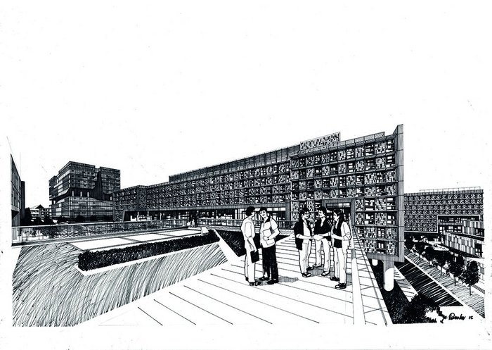 Alan Dunlop's drawing of the new school of architecture at Xi'an Jiaotong-Liverpool University.