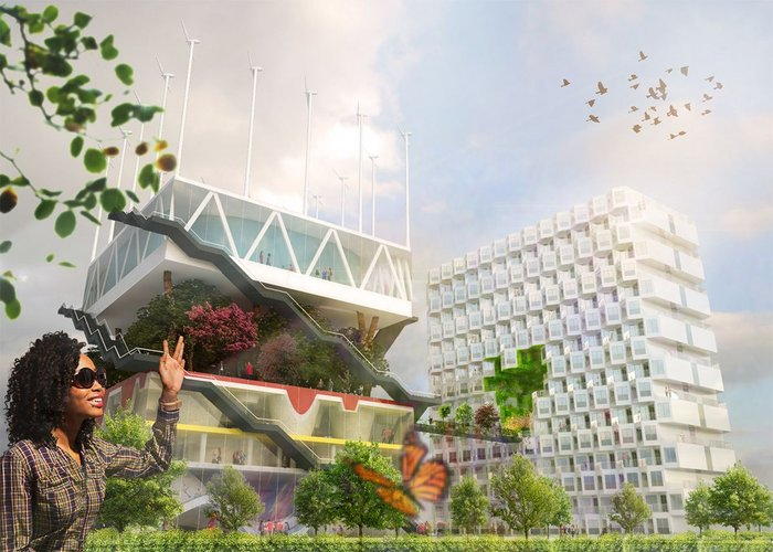 New render for MVRDV's EXPO 2000 Netherlands Pavilion, which is to be integrated into the City of Hanover's university facilities: the visual displays MVRDV's vivid 'happy' house style, depicting a student and butterfly in the foreground.