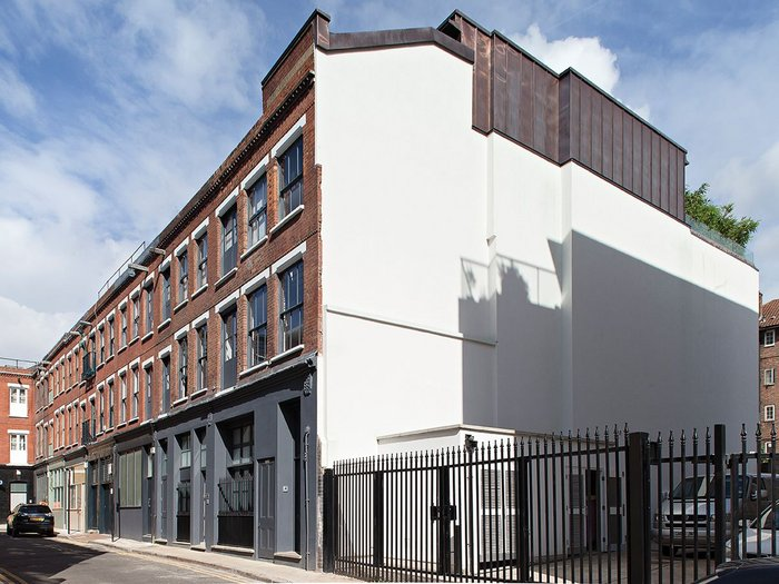 The former warehouse, with copper-clad rooftop extension.