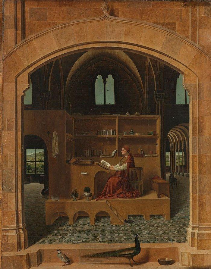 St Jerome in his Study. Antonello da Messina, c1475.