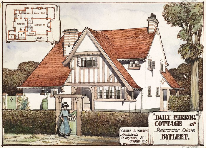 Design for the Daily Mirror Cottage, Sheerwater Estate, Byfleet. Designed in 1910 by Castle & Warren.