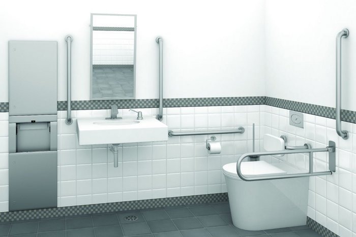 Getting the details right: Bobrick offers grab bars in five configurations as well as guidance on individual projects.