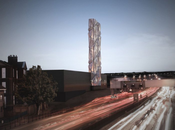 CF Moller and artist Conrad Shawcross' Greenwich Peninsula Low Carbon District Energy Centre, recently completed.