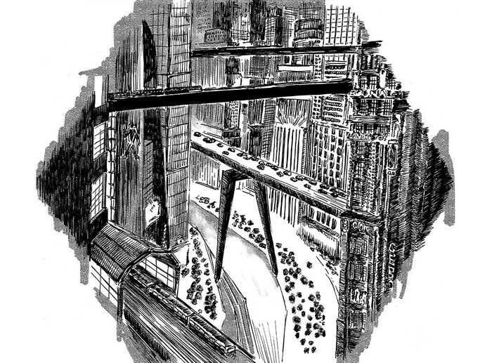 Metropolis III  by Piotr Sell. Directed by Fritz Lang, the 1927 film was the inspiration for many subsequent visions of future cityscapes.