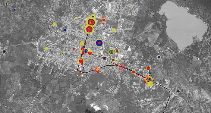 Image from Forensic Architecture's investigation of the enforced disappearance of 43 Ayotzinapa students in Iguala, Mexico, 26-27 September 2014. The Ayotzinapa Platform enables users to explore the relationship between thousands of events and hundreds of actors from the night of the disappearance.