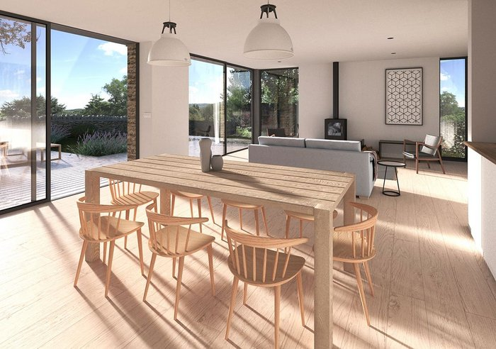 Plot A kitchen diner also in 3D equirectangular and render.