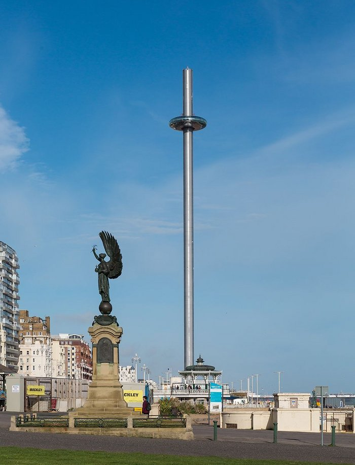 The British Airways i360 pod at full height