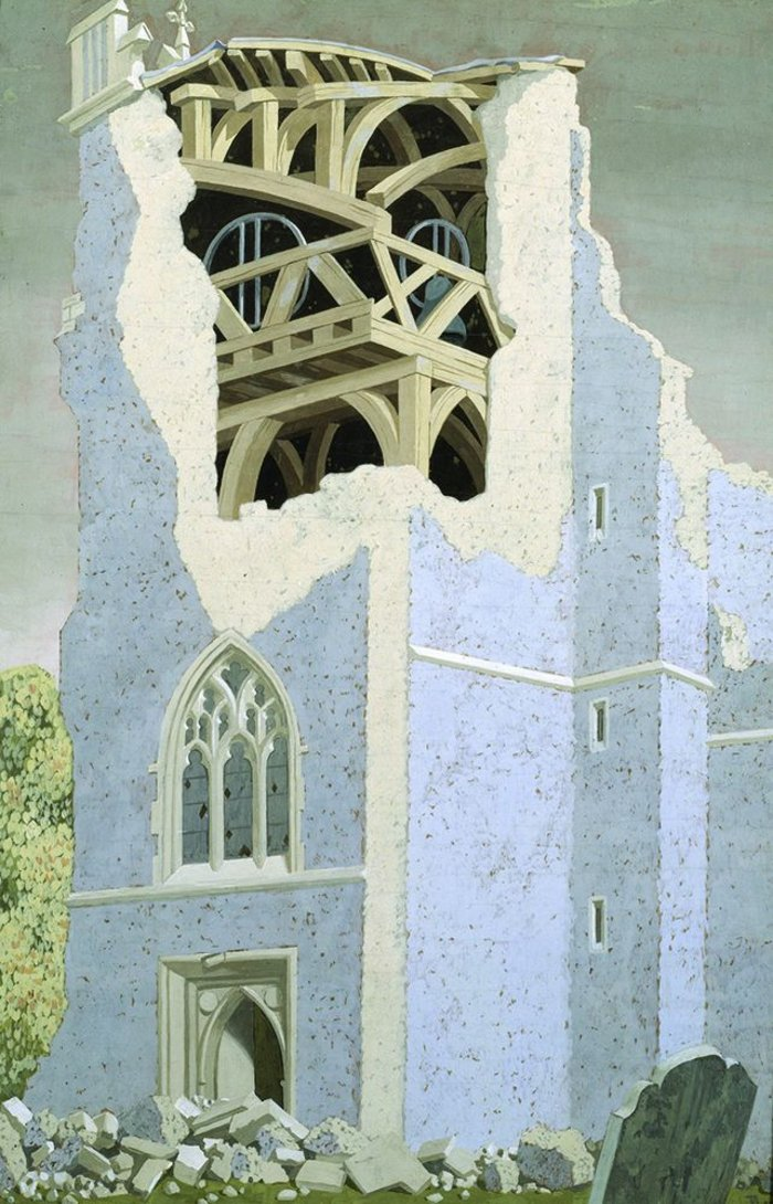The skull beneath the architecture: John Armstrong's Coggeshall Church, Essex (1940) from his work with the War Artists' Advisory Committee.