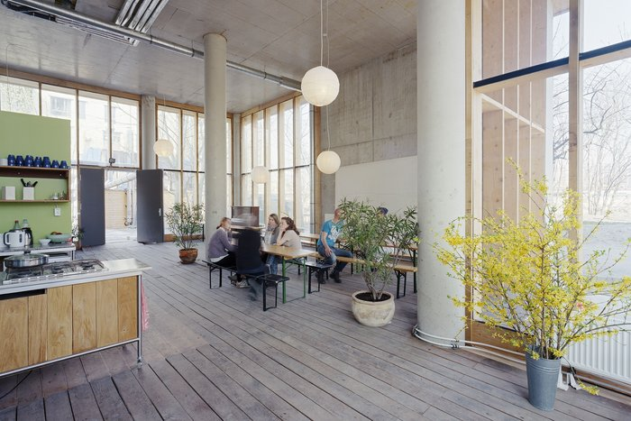 Housing with community at its heart: the common room in cooperative housing at River Spreefeld designed by Carpaneto Architekten, Fatkoehl Architekten and BARarchitekten.