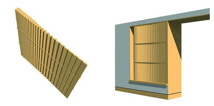 Visualisation of the stone louvred screen that forms part of the rear extension elevation, allowing passive ventilation strategies to be securely applied.