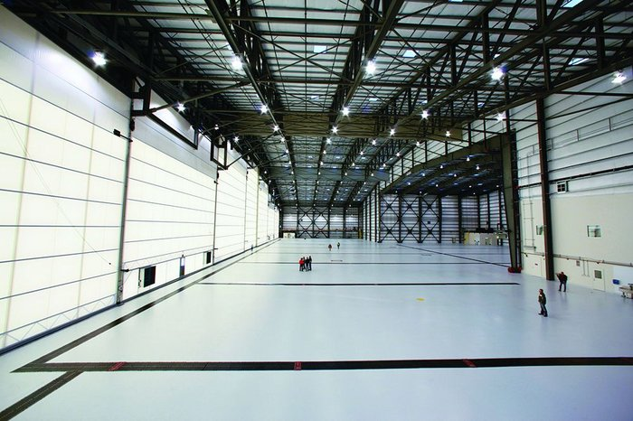 View looking across the full 128m width of the Stratolaunch Systems hangar – with the transluscent Megadoor to the left