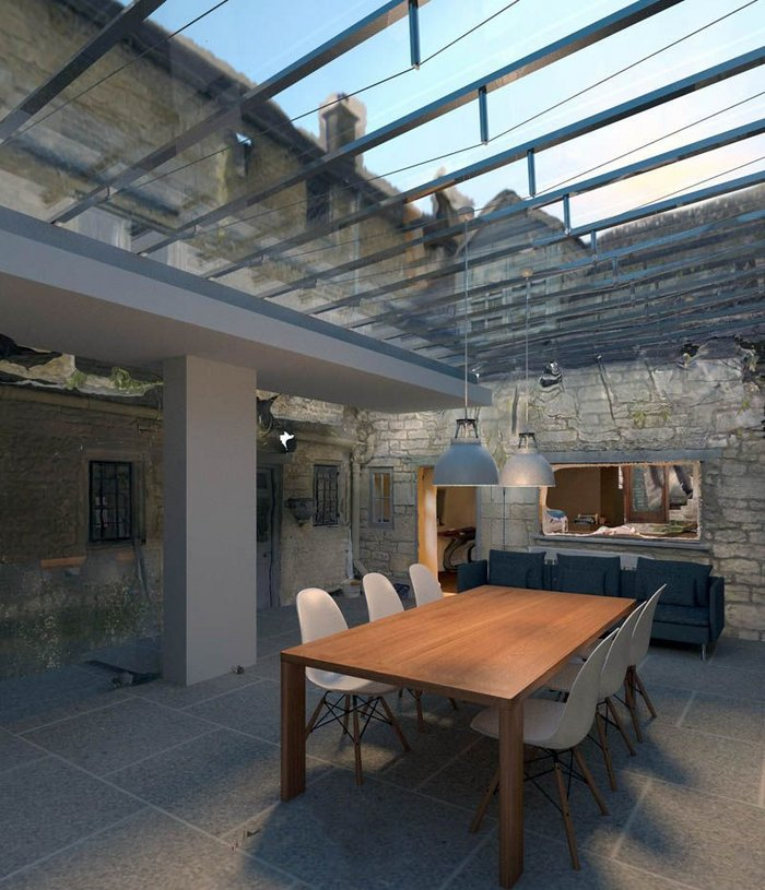 3D scan of a listed building and visualisation of proposed glass roof.