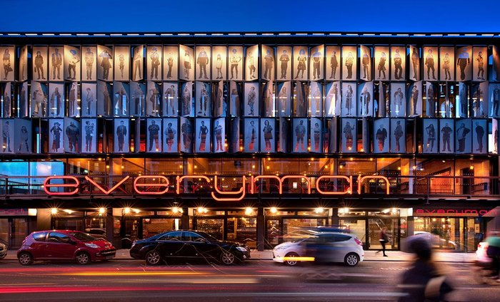 The RIBA Stirling prize-winning Everyman Theatre in Liverpool. Haworth Tompkins successfully created a new theatre to replace its previous Victorian home by designing a building that immediately belonged to the city. Built of reclaimed brick, it includes life-size figures of contemporary Liverpudlians on its façade.