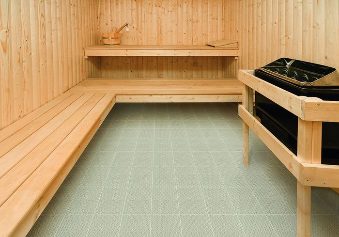 Tiles in the saunas, wetroom and gym.
