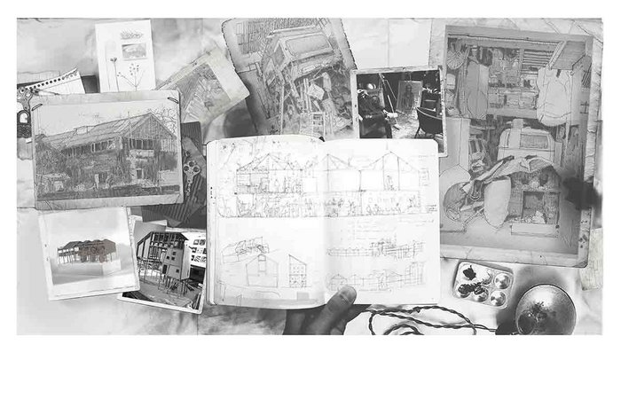 Collage of drawings for the Lewes Art Foundry.