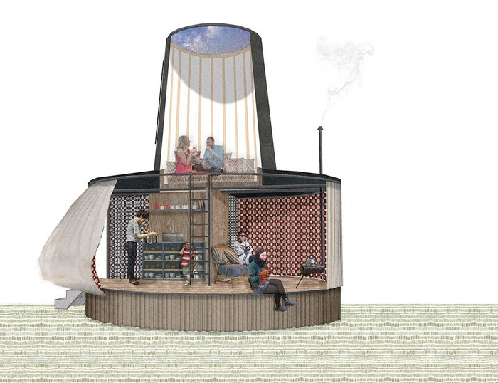 Rural Office for Architecture's Black Hat, one of the winners in the Legendary Glamping competition for holiday cabins in Wales themed on Welsh legends and materials.