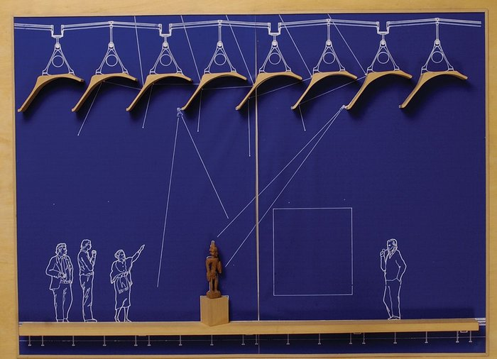 The Menil Collection, Houston Texas, section in bas relief on blueprint shows Arup working with Piano and Fitzgerald architects (2009).