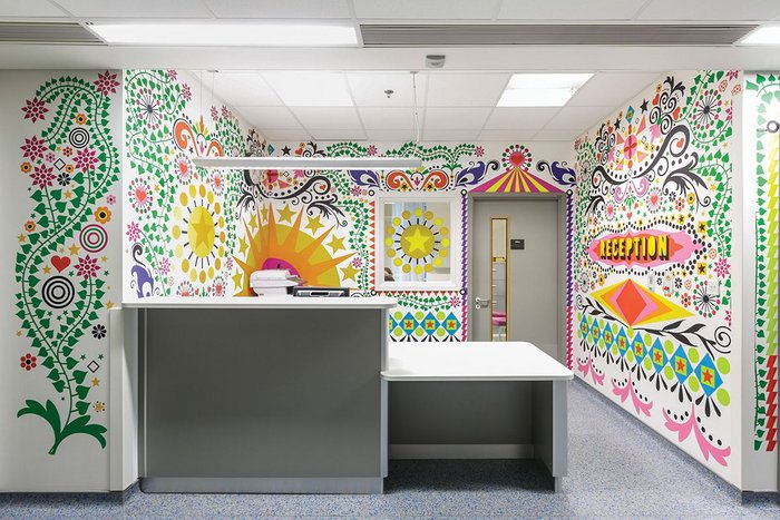 Morag Myerscough's Reception at Bart's Royal London Children's Hospital brings aspects of fun and colour to young patients.