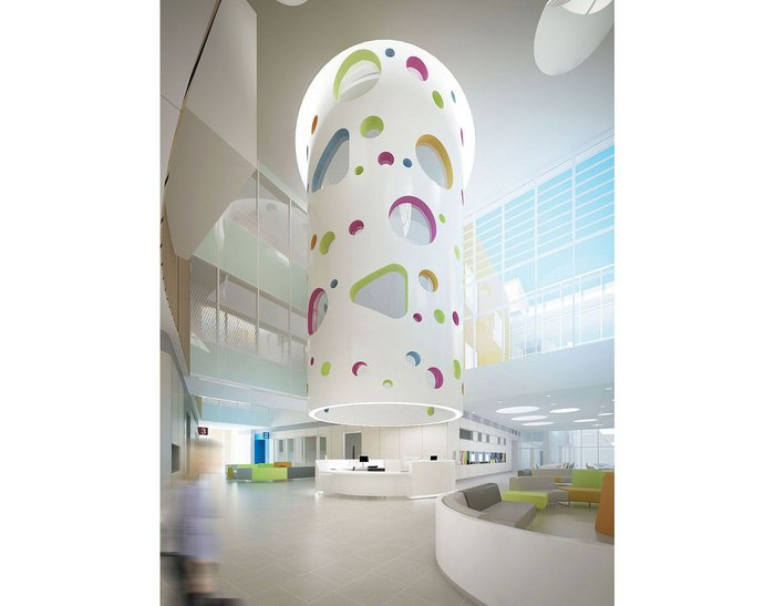 The sculptural 'playtube' in the foyer of Sheffield Children's Hospital creates a heart for the 8000m2 building and a play space at every ward level.
