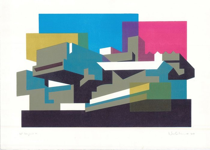 Hayward III, a linocut by Paul Catherall. This image is one of the illustrator's more abstracted and multi-coloured designs.