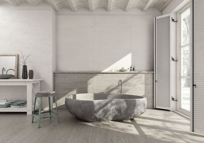 Wabi Sabi by Grespania features three designs, including Concrete, a cement look with subtle spatula effects in three formats, including 31.5x100cm (shown), 30x60cm and 60x60cm.