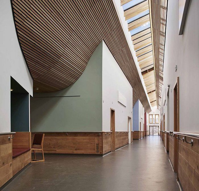 One of the corridors at St Michael's Hospice, Hereford, designed by Architype