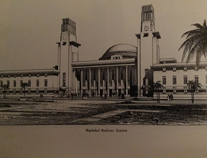 Revised design for Baghdad Railway Station drawn by Frank A Evans.