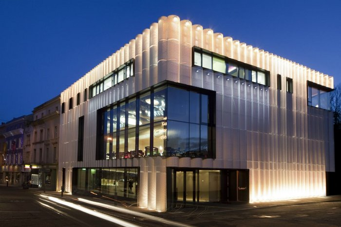 Cadisch MDA's Meshtec Ambasciata expanded metal cladding at the Quarterhouse venue in Folkestone. Alison Brooks Architects.