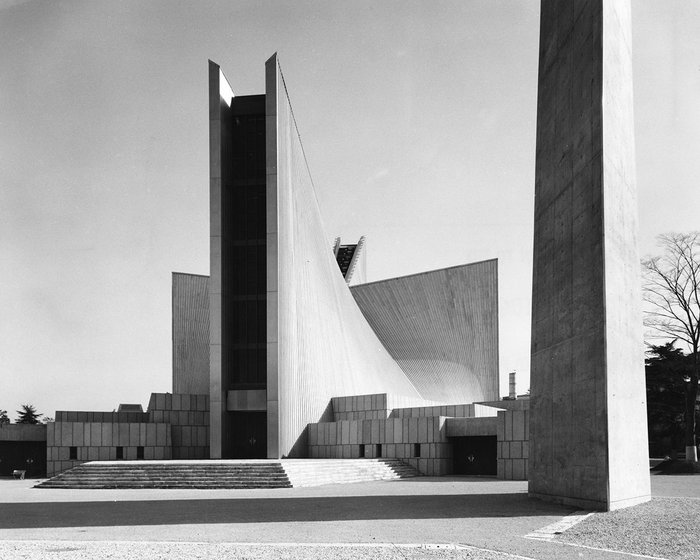 Tange's cathedral: traditional plan oversailed by roof of hyperbolic paraboloids.