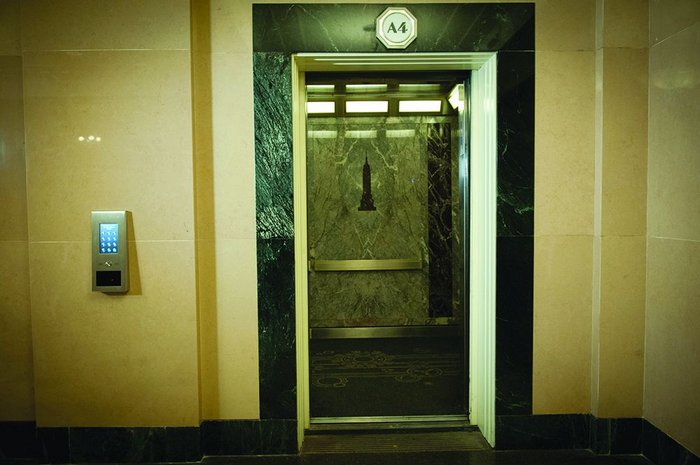 One of the restored 25 person, 1800kg lifts in the Empire State's 4-lift 'A' bank, using the new CompassPlus call system.