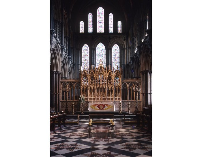 Restoration work showed a sensitivity, as seen at Ely Cathedral choir and reredos. The tiled floor was also designed by Scott.