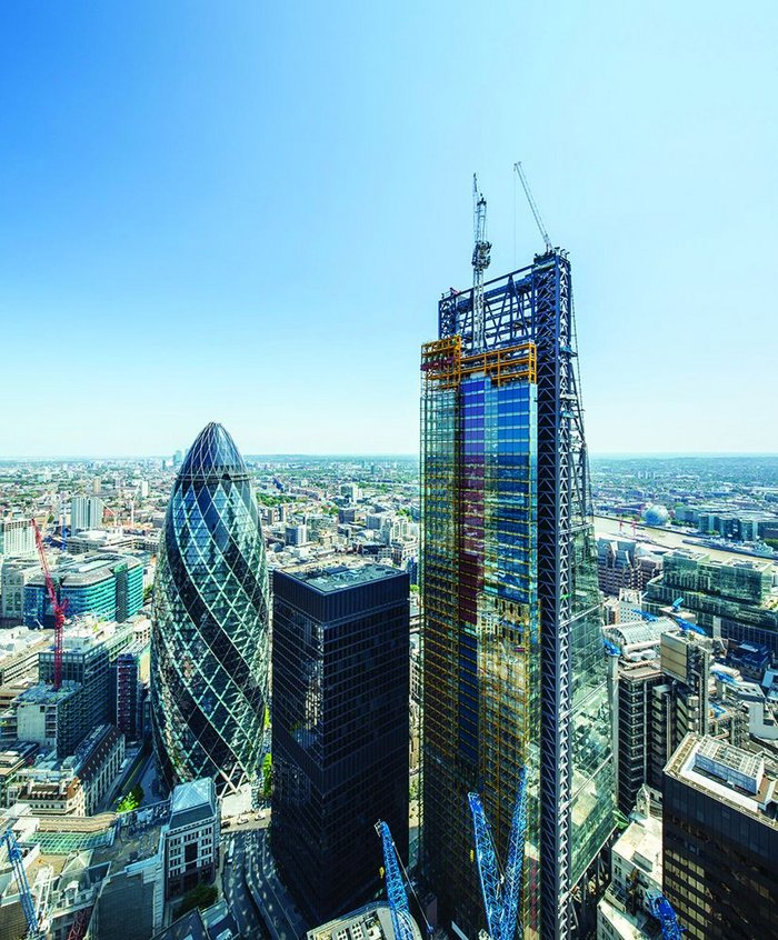The distinctive form of British Land's Leadenhall Building rises on the city skyline
