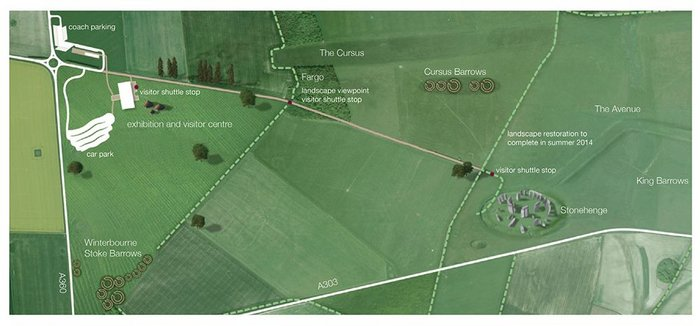 Site plan shows the relationship of new building and parking to Stonehenge, and the removal of the A344.