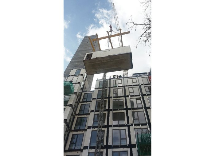 Modules being placed at a rate of 10 a day at Apex House in Wembley, London.