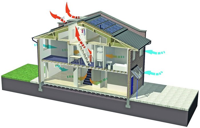 The low energy strategy for Penoyre and Prasad's retrofit house includes automatic roof vent and both PV and solar water heating panels.