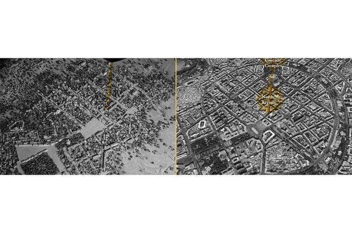 Urban development of Yerevan – aerial views from 1907 (top) and 2015 (below).