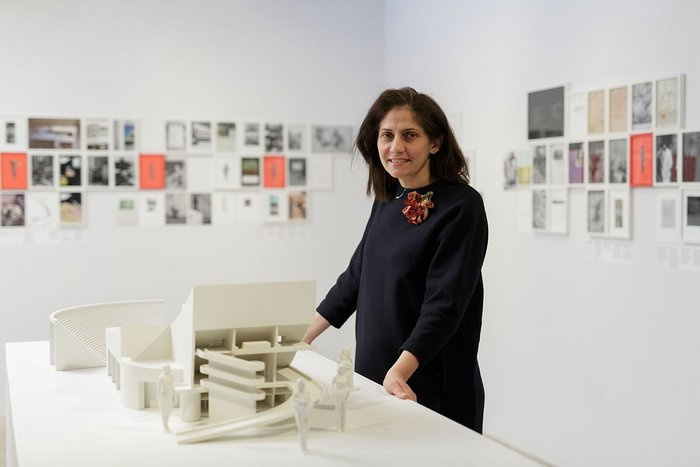 Ala Younis at her exhibition Plan for Feminist Greater Baghdad.