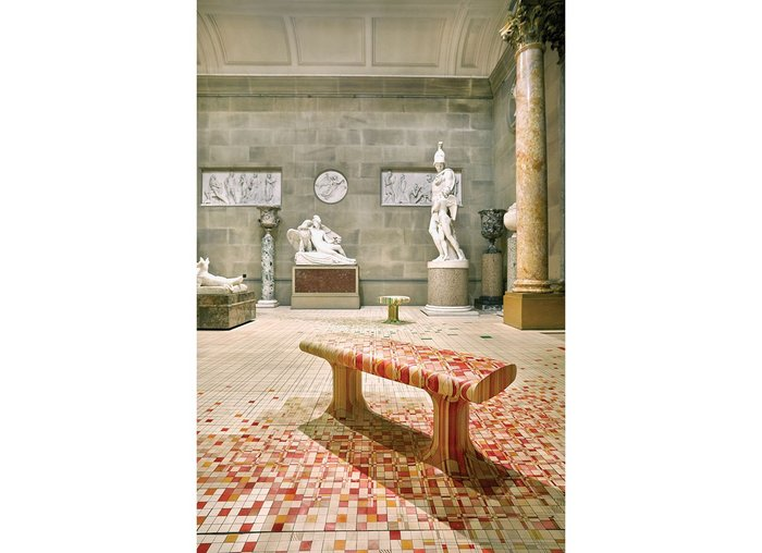 Endgrain bench from an installation at Chatsworth House.