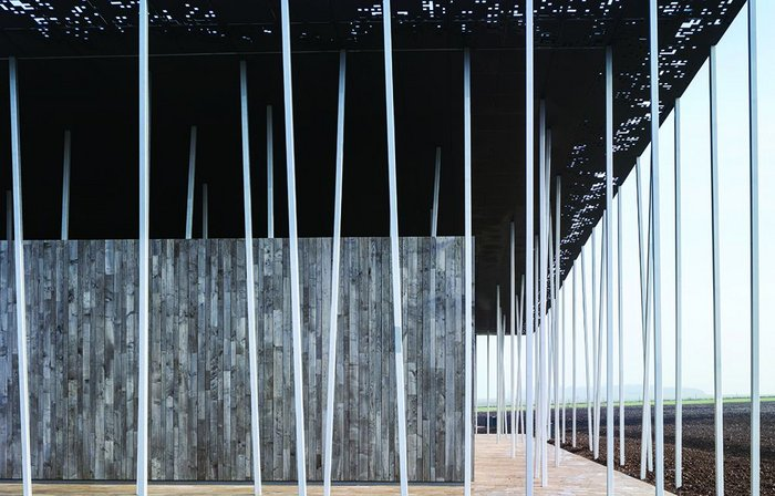 A sense of lightness is provided by the 211 columns and perforated edge to the thin canopy.