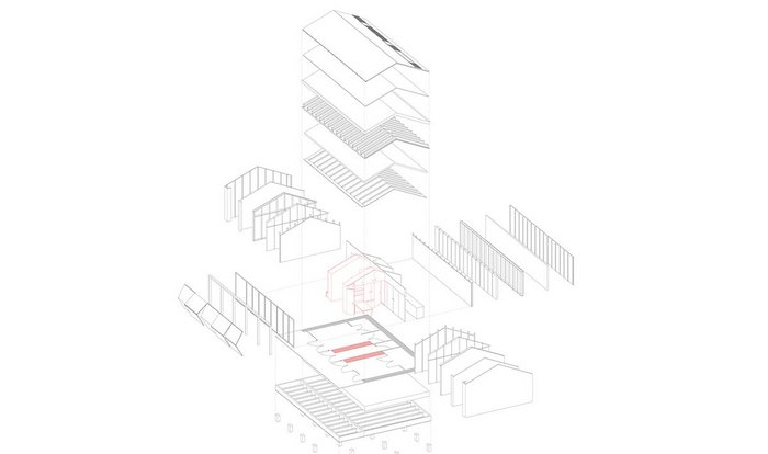 Axonometric projection showing how the pavilion is constructed.