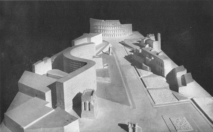 1st Stage Competition Entry, Palazzo Del Littorio, Mario Ridolfi with Ernesto La Padula, Ettore Rossi, and Vittorio Cafiero. 1934