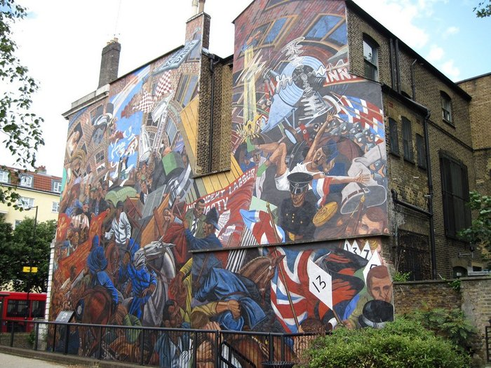 The Cable Street Mural, East London, commemorates the Battle of Cable Street, Sunday 4 October 1936. Anti-fascist protesters, including local Jewish, socialist, anarchist, Irish and communist groups, clashed with the Metropolitan Police. The work is inspired by Diego Rivera and Goya.