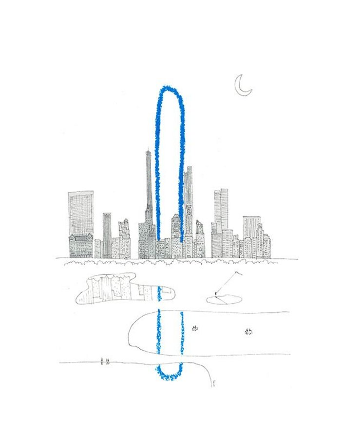 Oiio's provocation, a paper clip design for New York they call The Big Bend.