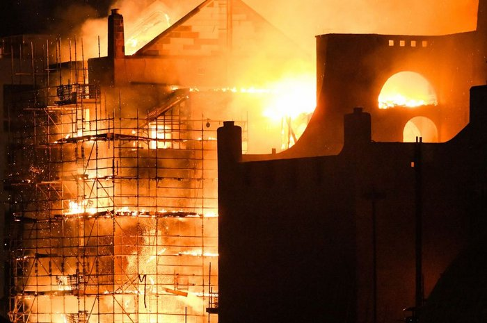 16 June 2018. Four years after the 2014 fire, the Glasgow School of Art construction site was devastated again.
