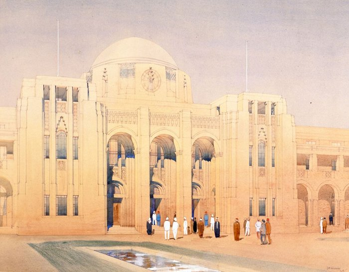 Port Offices Basra, Iraq. Designed and drawn by J M Wilson, 1929.