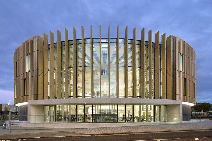 The river elevation of FaulknerBrowns' new circular library in South Shields flips into widescreen mode.